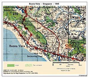Battle of Pasir Panjang - Contemporary Map for the Battle of Pasir Panjang, circa 1945
