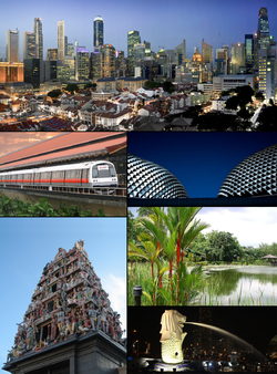 Images, from top, left to right: Merlion by the CBD, Singapore Zoo entrance, Esplanade - Theatres on the Bay, Gateway of Sentosa, Statue of Thomas Stamford Raffles, Downtown Core of Singapore, Raffles Hotel