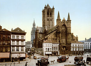 Tour of Flanders - Korenmarkt, Ghent (pictured ca. 1890-1900), was the scene of the start of the first Tour of Flanders in 1913.