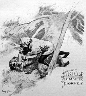 Skjöldr - Skjöldr ties up the bear, illustration by Louis Moe