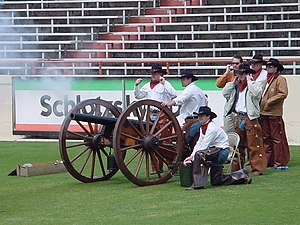 Smokey the Cannon - The Texas Cowboys firing Smokey at the 2003 Texas Football Spring Jamboree.