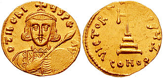 Tiberius III - Solidus displaying the cuirassed bust of Tiberius III, with spear and shield