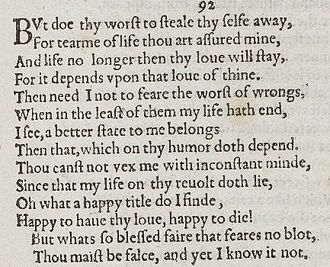 what characters appear in shakespeare sonnets