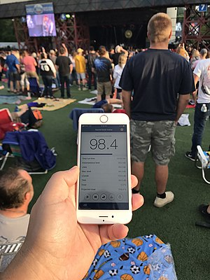 Image showing sound level of 98 decibels at an outdoor concert