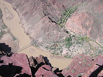 South Kaibab Trail - Colorado River and Phantom Ranch from lower South Kaibab Trail
