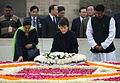 South Korean President Park Geun-hye lays a wreath during her visit to Raj Ghat.jpg
