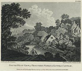 South West View of Trostrey Forge & Clytha Castle