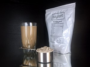 Meal replacement - Soylent is an example of a meal replacement product that comes in powdered form.