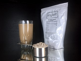 Soylent (meal replacement) - A Soylent package, along with the powder and resulting drink