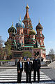 Soyuz TMA-09M crew in front of St. Basil's Cathedral in Moscow.jpg