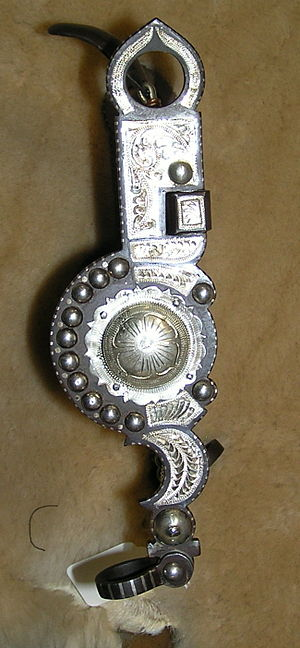 "Bit shank - A classic ""Santa Barbara"" style bit shank, designed for western riding and decorated with silver for use at horse shows"