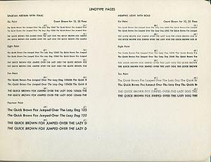 Memphis (typeface) - Memphis (right) on a metal type specimen sheet.