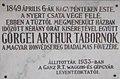 Sportcsarnok. Görgei Arthur emléktábla (1933), 2019 Isaszeg.jpg