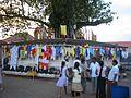 Sri lanka - aluthgama temple tempelbaum fahnen.JPG