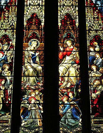 Hardman & Co. - The Coronation of the Blessed Virgin from the east window of St Mary's Cathedral, Sydney