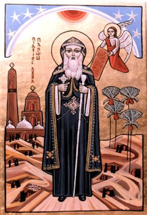 Cenobitic monasticism - Coptic icon of Pachomius the Great, the founder of Christian cenobitic monasticism