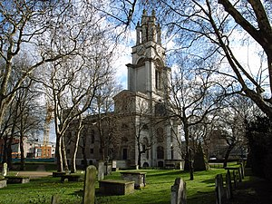 St Anne's Limehouse - St Anne's viewed from the churchyard