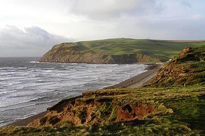 St Bees Head - View of the South Head from the golf course at St Bees, Cumbria.