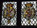 Stained glass window with coats of arms, Long Gallery, Haddon Hall.jpg