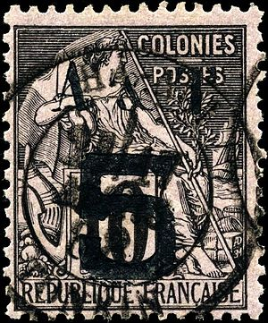 Postage stamps and postal history of Annam and Tongking - Image: Stamp Annam Tonkin 1888 5c