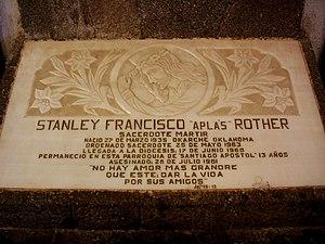 Stanley Rother - Memorial plaque in Santiago Atitlán