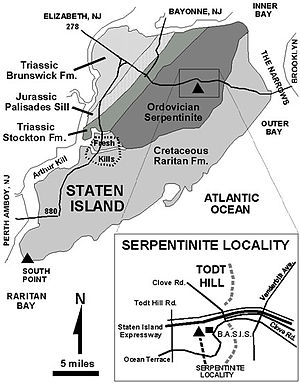 English: Geological map of Staten Island, New York