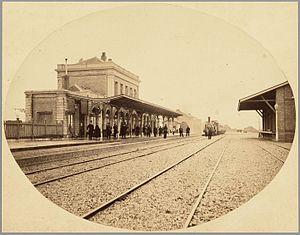 Alkmaar railway station - View of the station circa 1866.