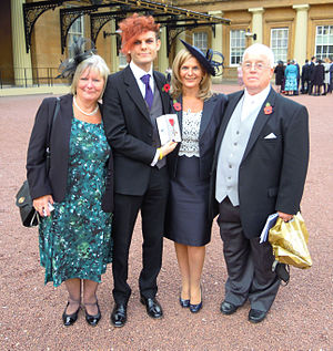 Stephen Sutton - Jane Sutton (second from right), Stephen Sutton's mother and members of his family, after receiving his MBE from the Queen at Buckingham Palace in November 2014