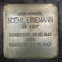 Photo of Noemi Eisemann brass plaque