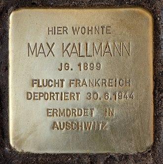 Gunter Demnig - Image: Stolperstein Dahlmannstr 1 (Charl) Max Kallmann