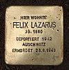 Stolperstein Schirnerstr 50 (Altgl) Felix Lazarus.jpg
