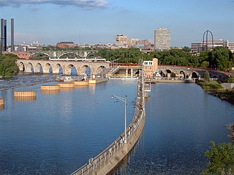 Transportation in Minnesota - The Stone Arch Bridge and lock at St. Anthony Falls in Minneapolis