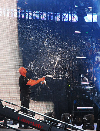 "Stone Cold Steve Austin - Austin is noted for his signature ""beer smash"", seen here at WrestleMania XXV"