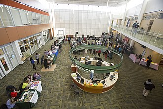 College of DuPage - Welcome desk for students in College of DuPage Campus