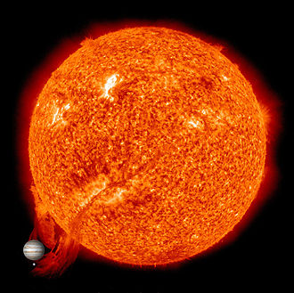 Solar prominence - Solar Prominence with images of Jupiter and Earth for size comparison.