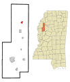 Sunflower County Mississippi Incorporated and Unincorporated areas Drew Highlighted.svg