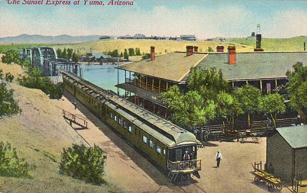 Early depiction of the train at Yuma, Arizona. Sunset Express Southern Pacific Railroad.JPG