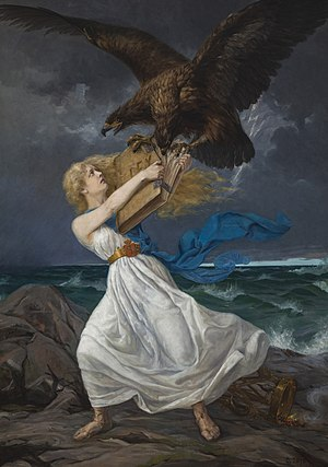 Finnish Maiden - In the painting Attack by Edvard Isto, the Finnish Maiden is being attacked by the Russian eagle, which is tearing away the law book from her hands. It was painted when the Russification of Finland started in 1899.