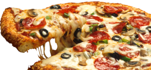A supreme pizza with tomatos sauce, cheese, pe...