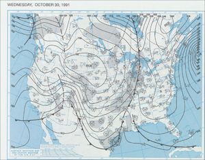 1991 Halloween blizzard - Surface map from October 30, 1991. A cold front stretched from the Hudson Bay to the Gulf of Mexico. The extratropical low off the East Coast can be seen, and would later develop into the 1991 Perfect Storm.