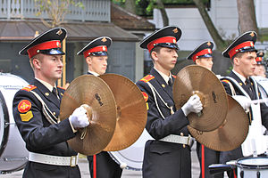Drumline - Several cymbalists from a military band