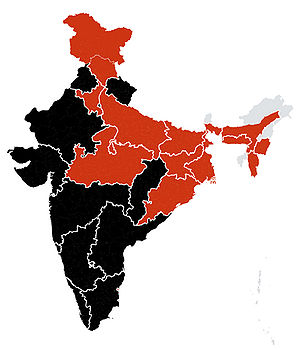 This show the affected states in India Black-D...