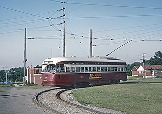 501 Queen - PCC on the Long Branch route at Long Branch Loop in 1966
