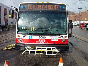 Toronto Transit Commission bus system - Then-new TTC Nova Bus LFS Artic in Hillcrest open house in 2013.