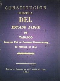 Portada de la Constitución Política del Estado libre de Tabasco promulgada  en 1825. 0e10f99b55c