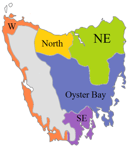 Tasmanian language families per Bowern (2012). Oyster Bay and SE are clearly related. Northern and Western may be as well. Tasmanian (Bowern 2012).png
