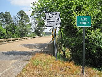 Tate County, Mississippi - Image: Tate County MS sign 002 2012 03 31