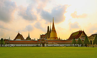 Rattanakosin Kingdom (1782–1932) - Wat Phra Kaew seen from the Outer Court of Grand Palace.