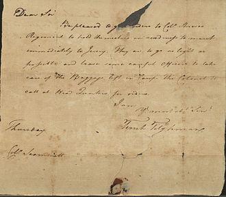 Tench Tilghman - Letter from Tench Tilghman to George Washington, circa 1776–1781