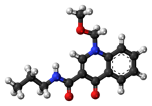 Ball-and-stick model of the terbequinil molecule